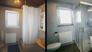 Bad im Vergleich vor und nach der Komplettrenovierung