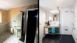 Sauna-Dusche renoviert - mit individuellem Möbelstück
