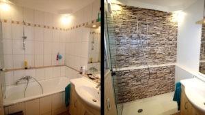 Moderne Dusche mit Wandpaneele im Badezimmer