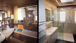 Altes Bad im Vergleich zum neu renovierten Bad