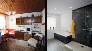 Badezimmer nach Maß gefertigt - vorher Küche-nachher Bad