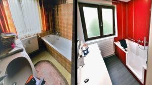 Bad nach Maß vorher-nachher - Wanne, Waschbecken renoviert