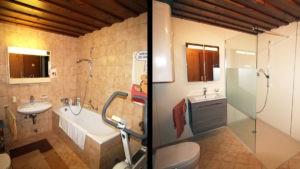 Badrenovierung Wanne vorher - Dusche nachher