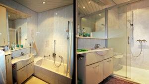 Hochwertige Dusche ersetzt Wanne