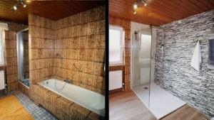 Moderne Dusche ersetzt alte Wanne