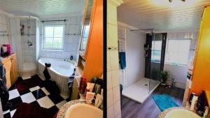 Bad renoviert - neue Dusche und Wanne raus