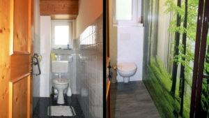 Renoviertes WC mit Wandpaneele