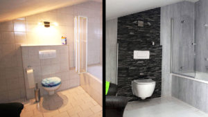 Stilvolles WC im Badezimmer - vorher-nachher